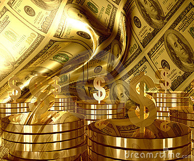 Gold and Dollar money currency icon