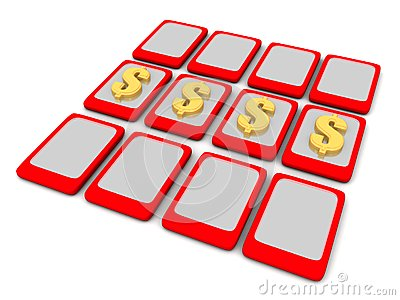 Gold Dollar sign on Touch pads
