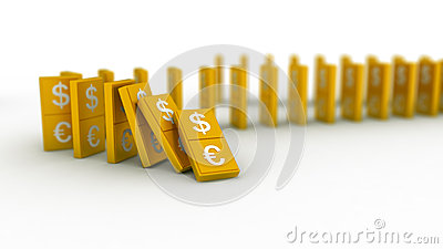 Gold domino euro and dollar