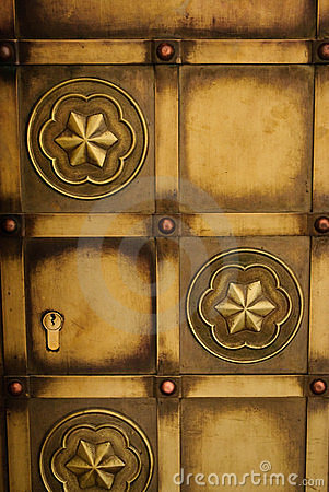 Gold Door with Keyhole