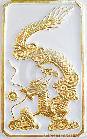 Gold dragon on the white background