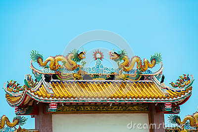 Gold dragons on the shrine roof