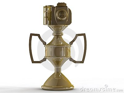 Gold DSLR camera trophy or cup
