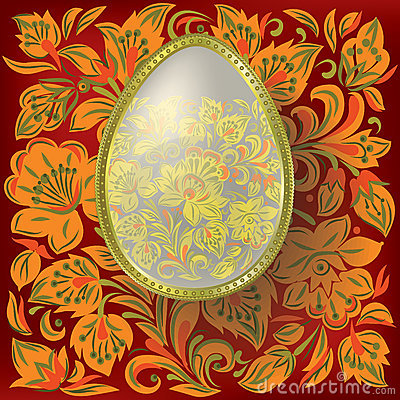 Gold easter egg on floral  background