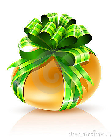 Gold easter egg with green ribbon isolated