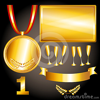 Gold elements for games and  sports