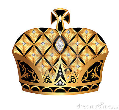 Gold(en) royal crown insulated on white background