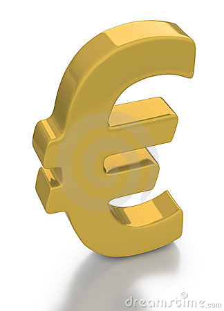 Gold Euro currency symbol