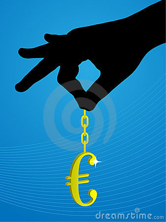 A gold euro sign hanging by hand