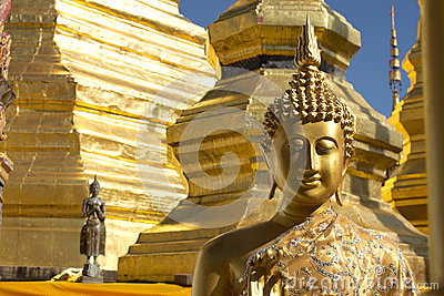 Gold face of Buddha statue