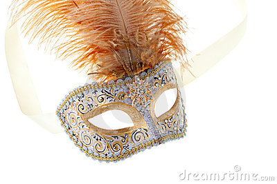 Gold feathered carnival mask