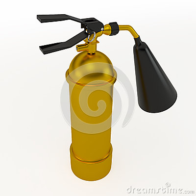 Gold fire extinguisher, 3D