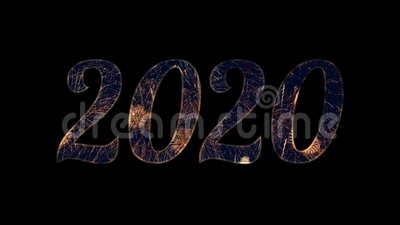Gold firework celebration in 2020 text with alpha / transperancy.  stock footage