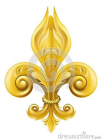 Gold Fleur-de-lis design