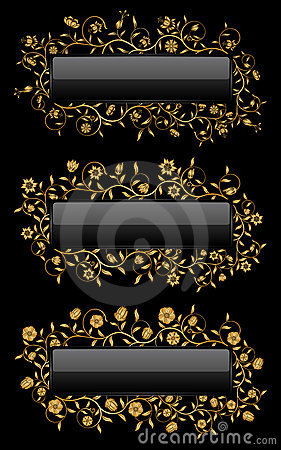 Gold floral banners
