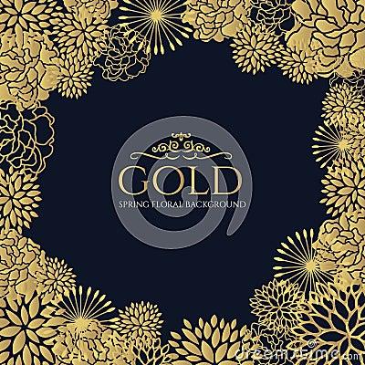 Free Gold Floral Frame On Dark Blue Background Vector Art Design Royalty Stock Image