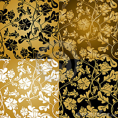 Gold floral seamless