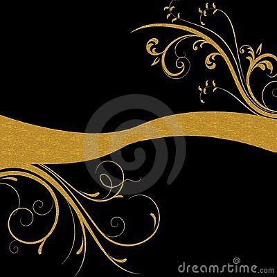 Gold floral swirls on black background