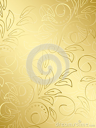 Gold floral vector background with gradient