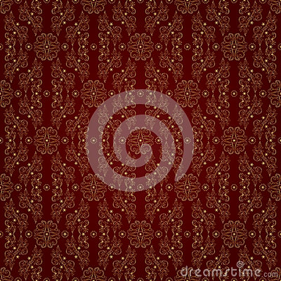 Free Gold Floral Vintage Seamless Pattern On A Red Background Stock Photo - 29239170
