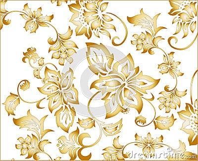 Gold Flower Background Pattern