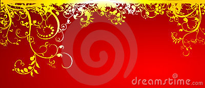 Gold flower in red background
