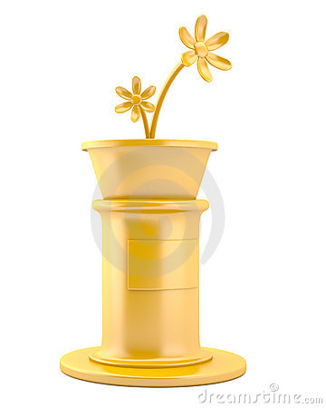 Gold flowers on pedestal