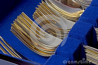 Gold Forks Stacked