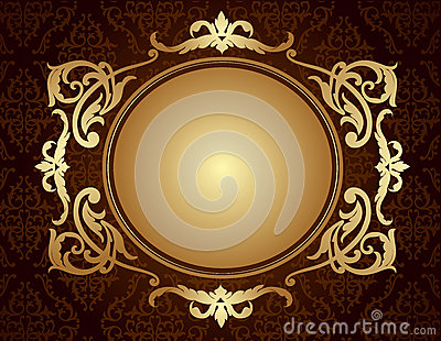 Gold frame on brown damask pattern background