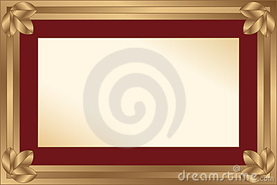 Gold frame with maroon passport for a photo or a d