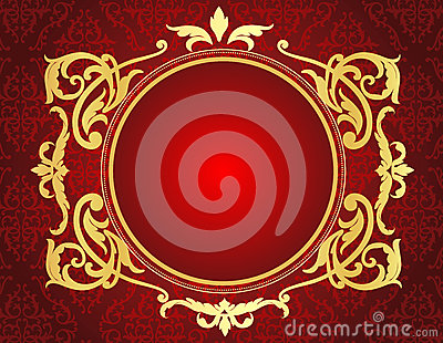 Gold frame on red damask pattern background