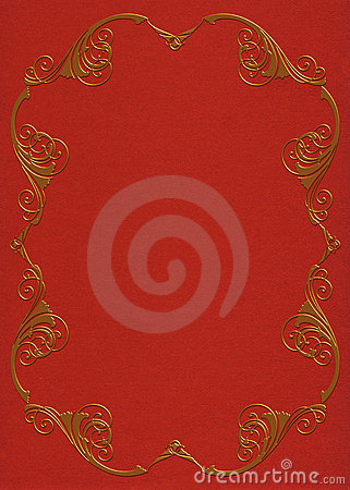 Gold frame on red felt invitation