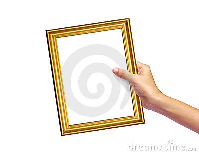 Gold frame in woman hand