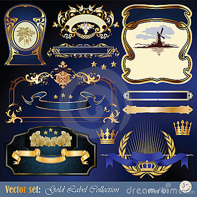 Gold-framed labels, ribbon, ornaments and elements