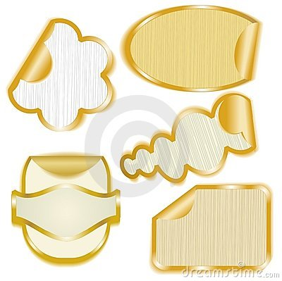 Gold framed paper stickers with peeling corners