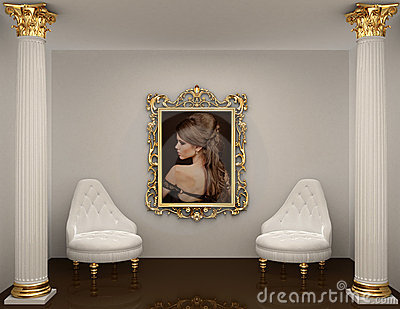 Gold frames with picture of woman on the wall