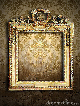 Gold frames, retro wallpaper