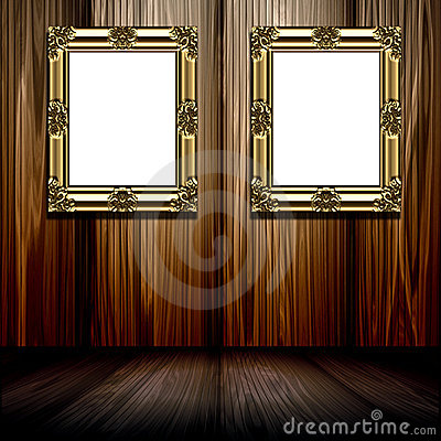 Gold Frames In Wood Room