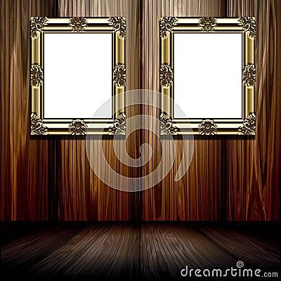Gold Frames In Wood Room