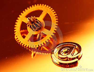 Gold gear old clockwork & e-mail