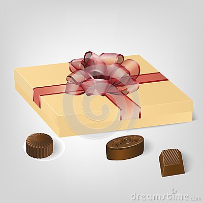 Free Gold Gift Box Of Chocolate Candies Royalty Free Stock Images - 39521599