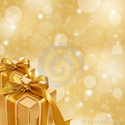 Free Gold Gift Box On Abstract Gold Background Stock Image - 17191291