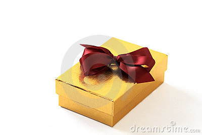 Gold Gift Box with Red Bow