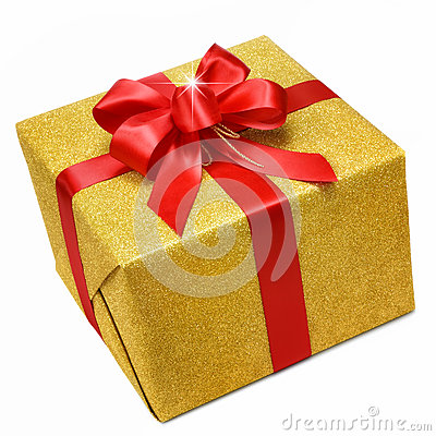 Free Gold Gift Box With Smart Red Bow Royalty Free Stock Photography - 35486647