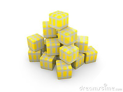 Gold gift boxs with silver ribbons