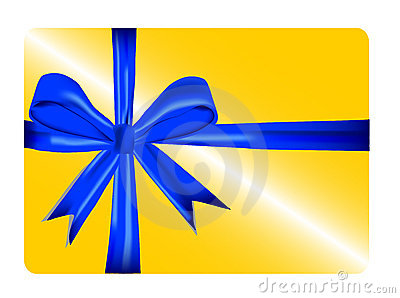 Gold gift card with blue ribbon