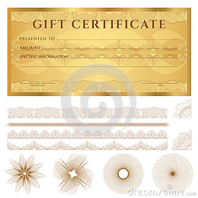 Gold Gift Certificate (Voucher) Template. Pattern Stock ...