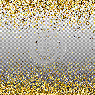 Gold glitter background. Golden sparkles on border. Template for holiday designs, invitation, party, birthday, wedding, New Year, Vector Illustration