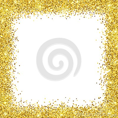 Free Gold Glitter Border Frame On White Backround. Vector Stock Image - 106158751