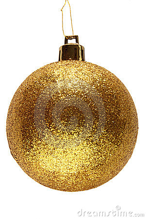 Gold glitter Christmas bauble.
